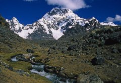 Ausangate is the highest mountain in the Cordillera Vilcanota, towering in the southeast sky from the city of Cuzco.